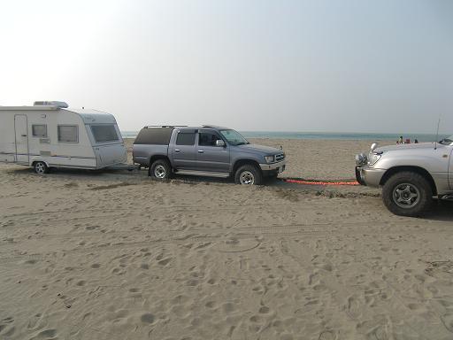 砂浜けん引